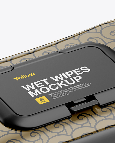 Wet Wipes Pack With Plastic Cap Mockup - Half Side View (High-Angle Shot)