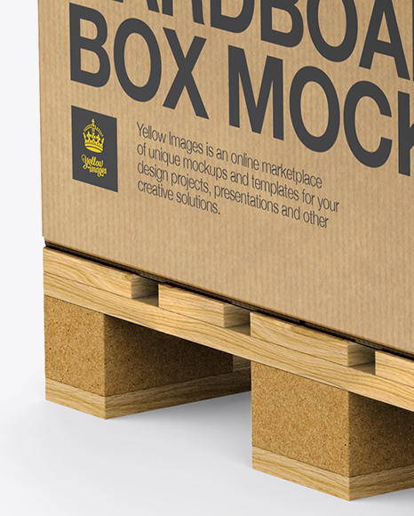 Wooden Pallet With Kraft Box Mockup - Half Side View