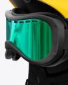 Ski Helmet With Goggles Mockup - Left Halfside View