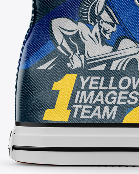 High-Top Canvas Sneaker Mockup - Side View