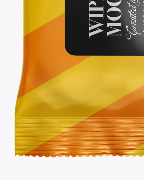 Glossy Wet Wipes Pack Mockup - Front View