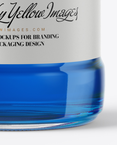 Download Clear Glass Bottle With Blue Syrup Mockup In Bottle Mockups On Yellow Images Object Mockups PSD Mockup Templates