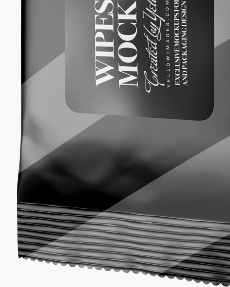Matte Wet Wipes Pack Mockup - Half Side View