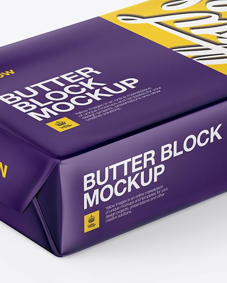 Matte Butter Block Mockup - Half Side View (High-Angle Shot)