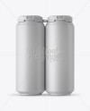 Pack with 4 Matte Aluminium Cans with Plastic Holder - Front View