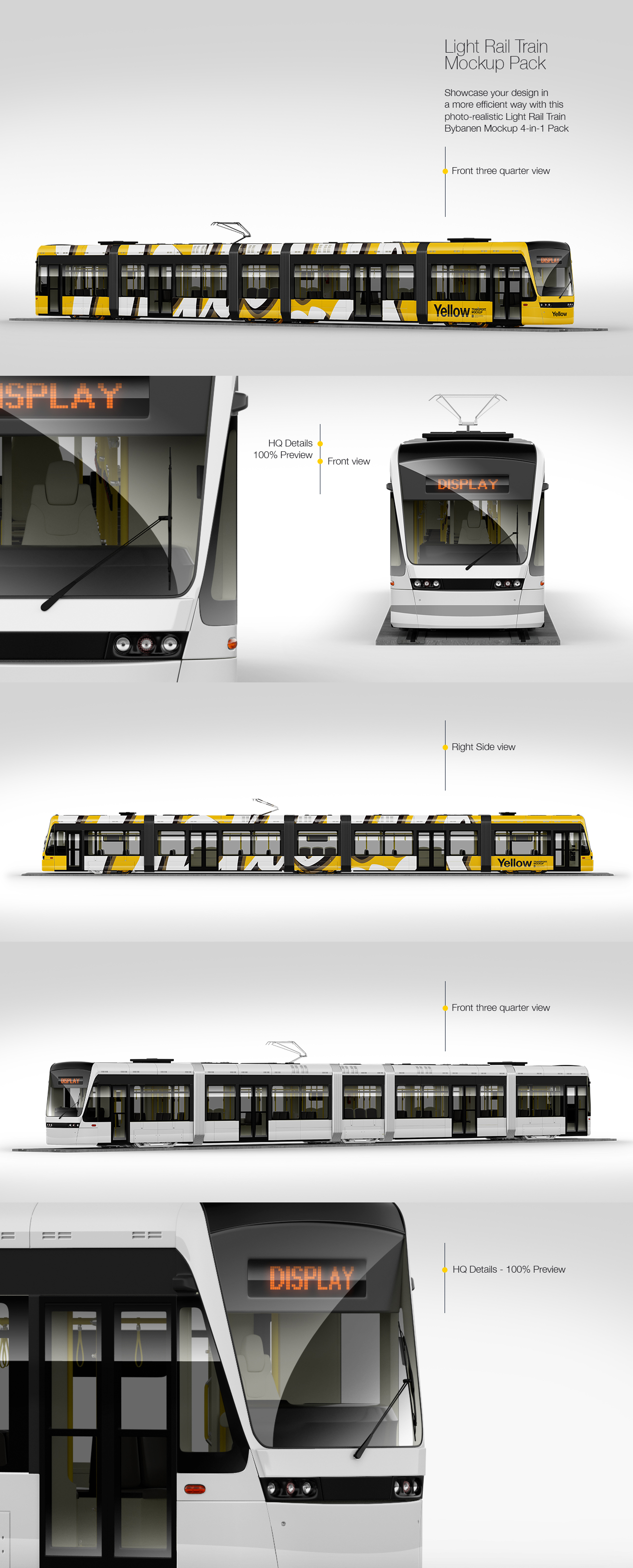 Light Rail Train Mockup Pack