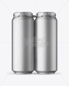 Pack with 4 Matte Metallic Aluminium Cans with Plastic Holder - Front View