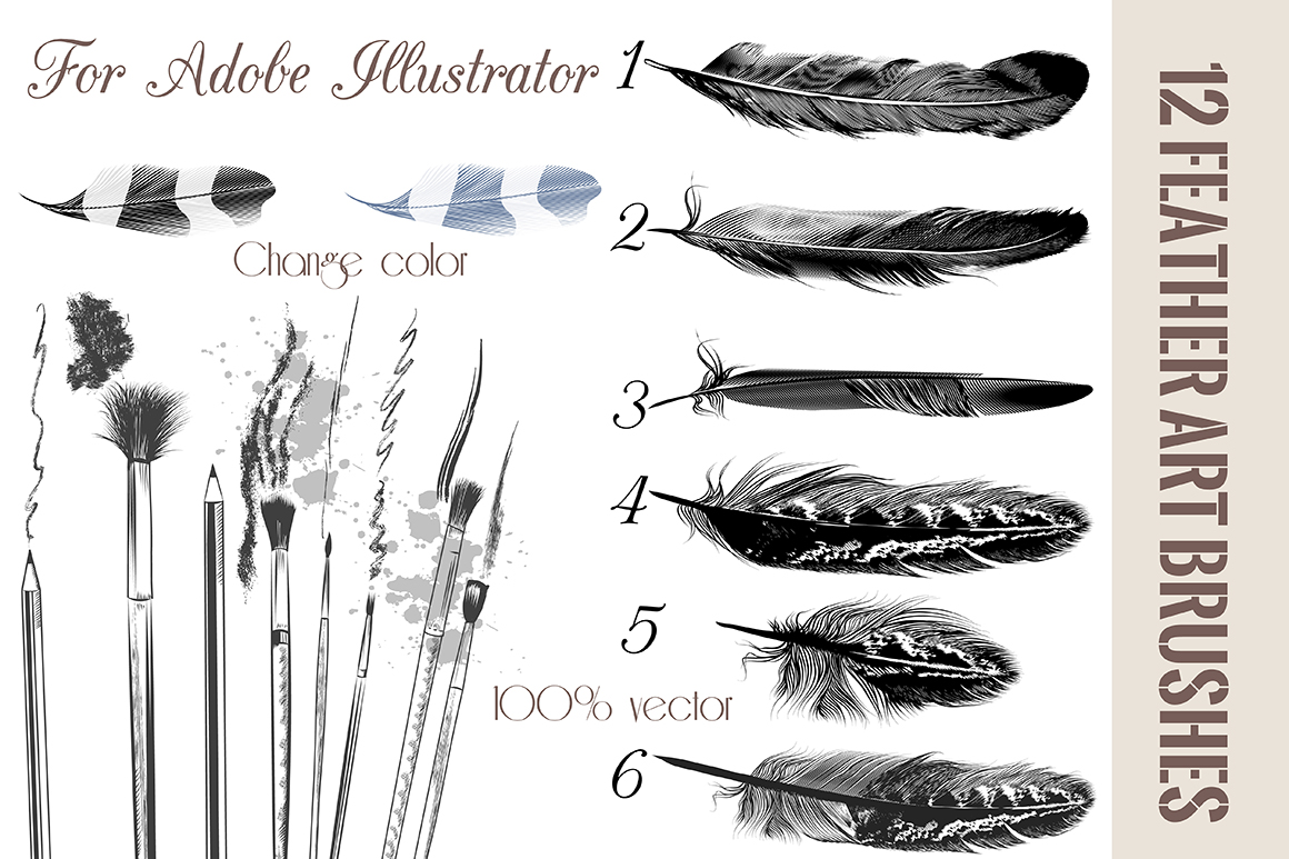 Feather brushes for Adobe Illustrator