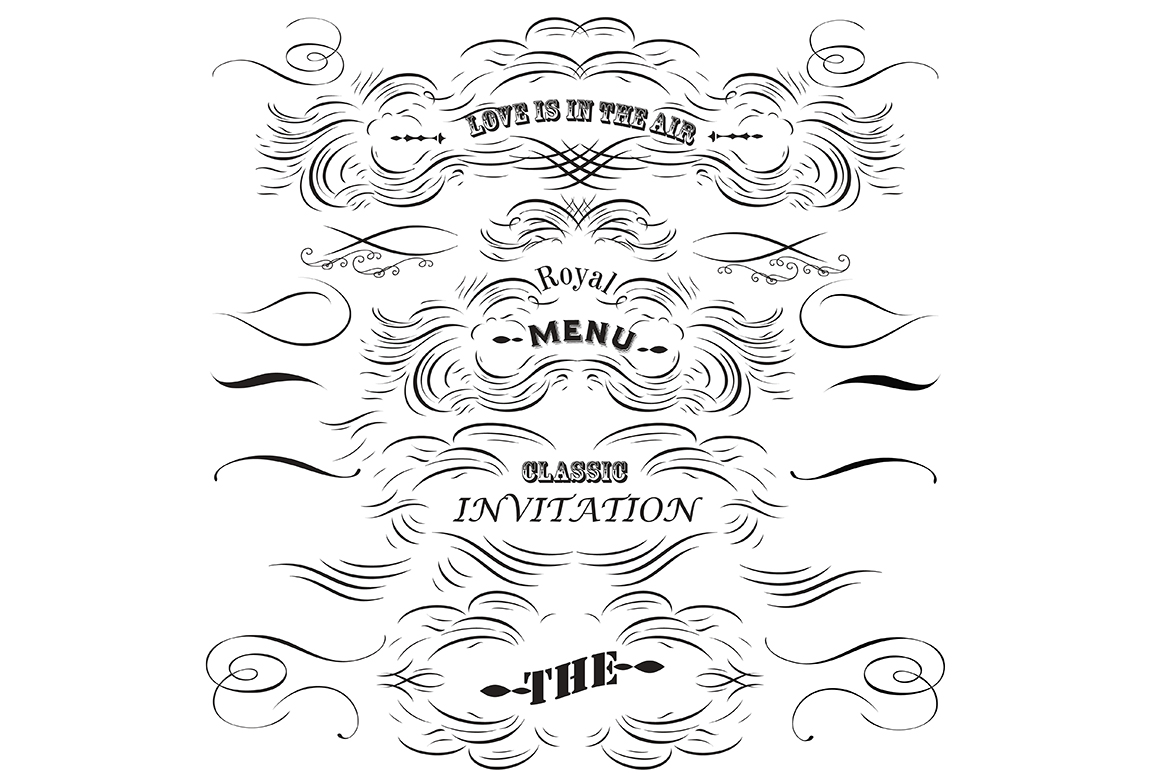 Collection of vector decorative flourishs in vintage style