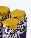 Pack with 4 Matte Aluminium Cans with Plastic Holder - Halfside View (High-Angle Shot)