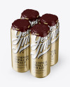 Pack with 4 Metallic Aluminium Cans with Plastic Holder - Halfside View (High-Angle Shot)