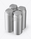Pack with 4 Matte Metallic Aluminium Cans with Plastic Holder - Halfside View (High-Angle Shot)