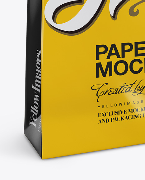 Glossy Paper Bag Mockup - Half Side View