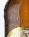 12oz Amber Beer Bottle With Condensation Mockup