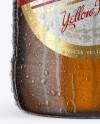 22oz Amber Beer Bottle With Condensation Mockup