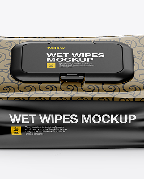 Wet Wipes Pack With Plastic Cap Mockup (High-Angle Shot)
