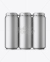 Pack with 6 Matte Metallic Aluminium Cans with Plastic Holder - Front View