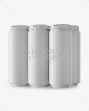 Pack with 6 Matte Aluminium Cans with Plastic Holder - Half Side View