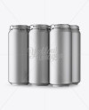 Pack with 6 Matte Metallic Aluminium Cans with Plastic Holder - Half Side View