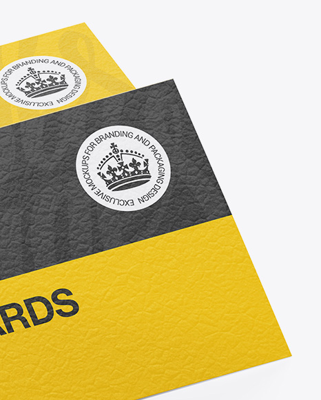 Textured Business Cards Stack Mockup - Half Side View