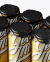 Pack with 6 Matte Metallic Aluminium Cans with Plastic Holder - Half Side View (High-Angle Shot)