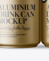 4 Matte Metallic Aluminium Cans Mockup - Front View