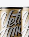 4 Matte Metallic Aluminium Cans Mockup - Half Side View