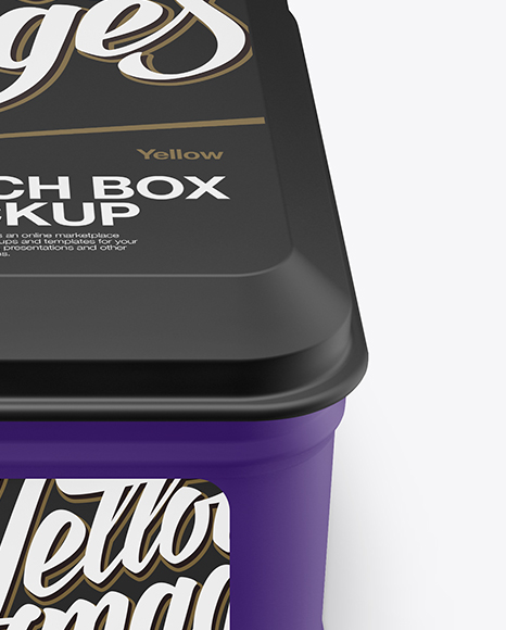 Matte Square Lunch Box Mockup (High Angle Shot)