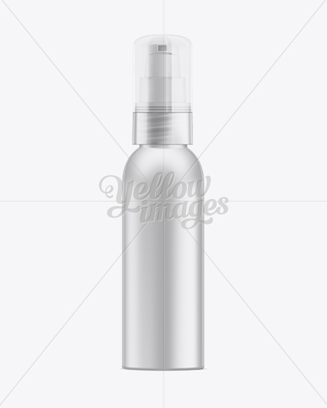 Cosmetic Bottle w/ Treatment Pump and Clear Styrene Hood Mockup