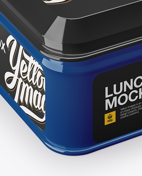Glossy Square Lunch Box Mockup - Half Side View (High Angle Shot)