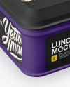 Matte Square Lunch Box Mockup - Half Side View (High Angle Shot)