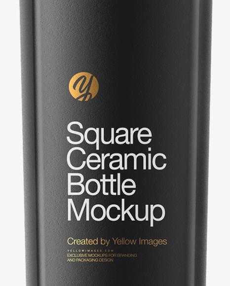 Square Ceramic Bottle Mockup