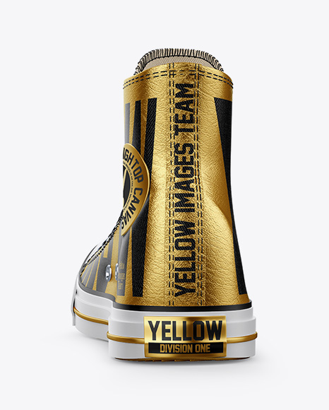 Download High Top Canvas Sneaker Mockup Back View Yellow Images
