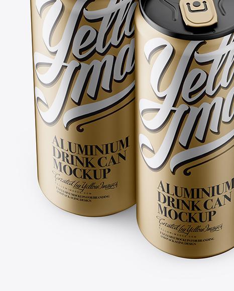 4 Matte Metallic Aluminium Cans Mockup - Half Side View (High Angle Shot)