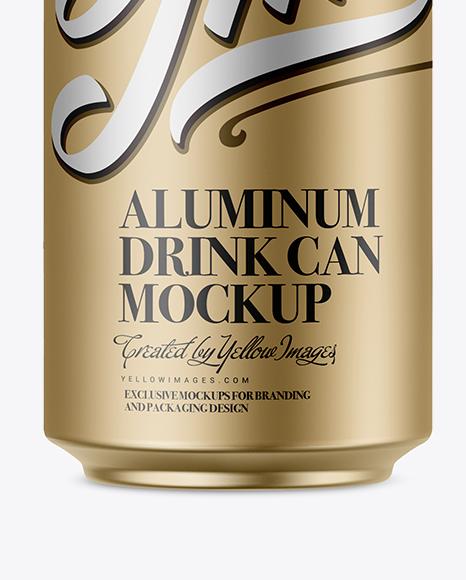330ml Matte Metallic Aluminium Can Mockup