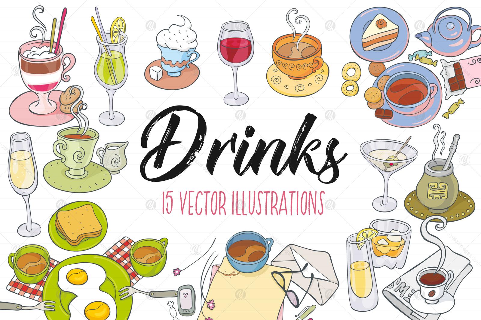 Drinks, Vector Illustrations