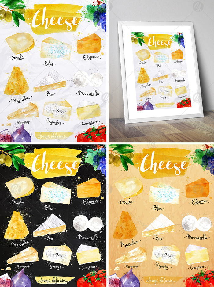 Watercolor Cheese Posters