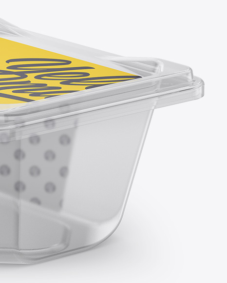 Plastic Transparent Container Mockup - Half Side View