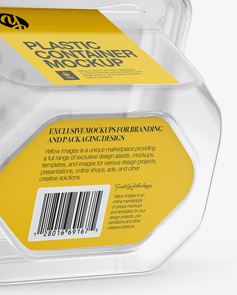 Transparent Plastic Container Mockup - Back Half Side View