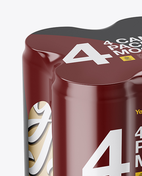 4 Matte Metallic Cans in Shrink Wrap Mockup - Half Side View (High Angle Shot)