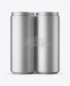 4 Matte Metallic Cans in Shrink Wrap Mockup - Front View