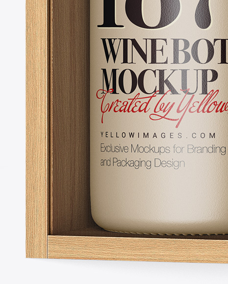 Ceramic Wine Bottle In Open Wooden Box Mockup Half Side View In