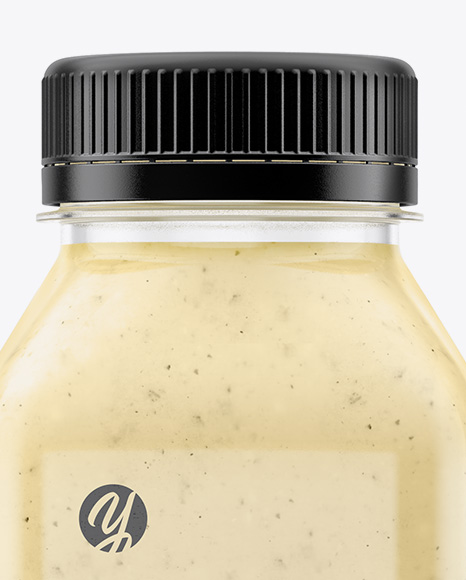 Clear Bottle with Banana Smoothie Mockup