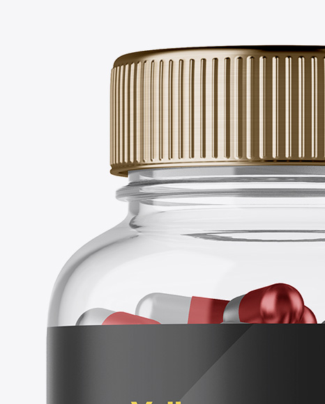Clear Plastic Bottle With Metallic Pills Mockup - Front View