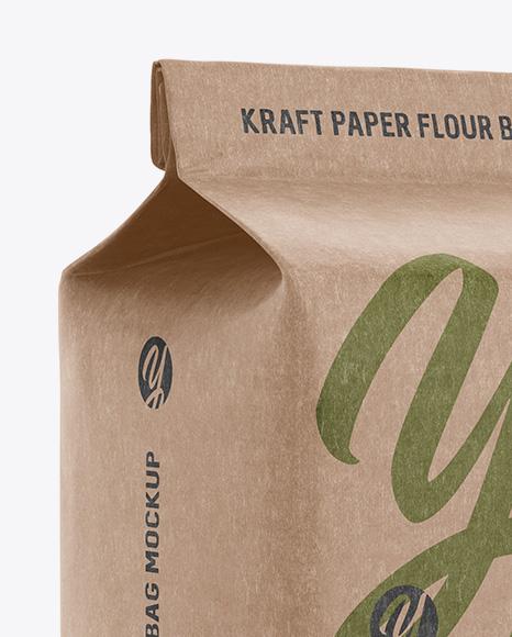 Kraft Paper Flour Bag Mockup - Halfside View (Eye-Level Shot)