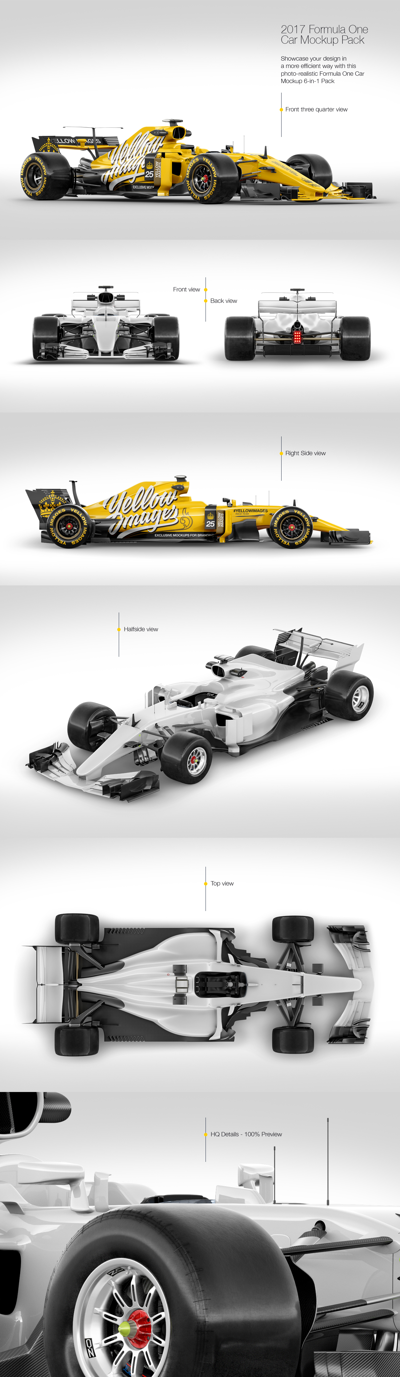 Download 2017 Formula 1 Car Mockup Pack In Handpicked Sets Of Vehicles On Yellow Images Creative Store PSD Mockup Templates