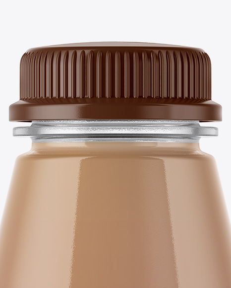 Plastic Bottle With Chocolate Milk Mockup