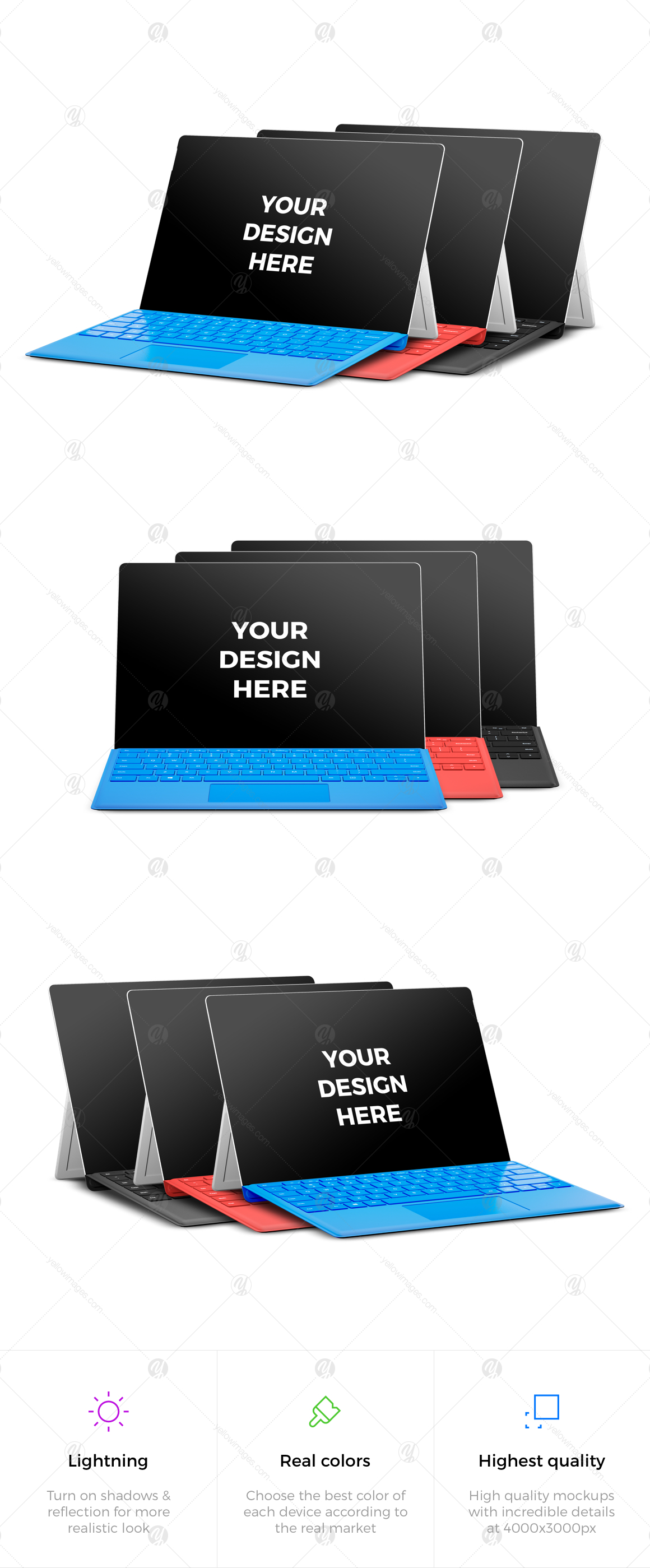 9x Microsoft Surface Pro 4 Mockups