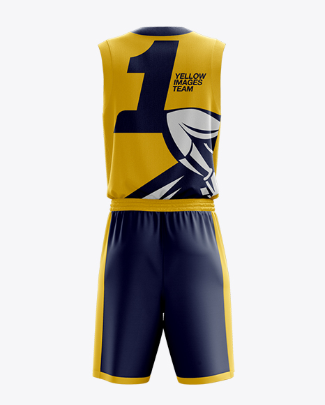 Basketball Kit w/ V-Neck Tank Top Mockup / Back View