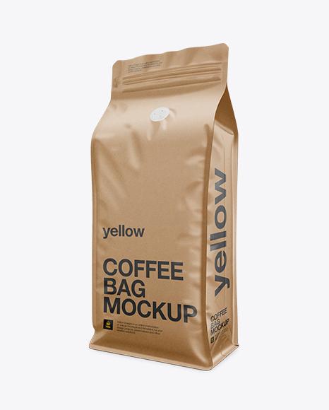 Download Kraft Paper Coffee Bag Mockup Free Yellow Images